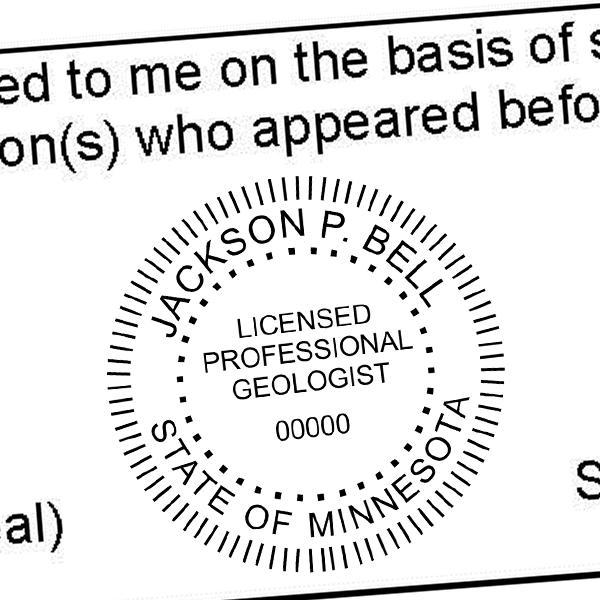 State of Minnesota Geologist Seal Imprint