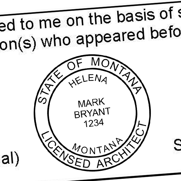 State of Montana Architect Solid Border  Seal Imprint