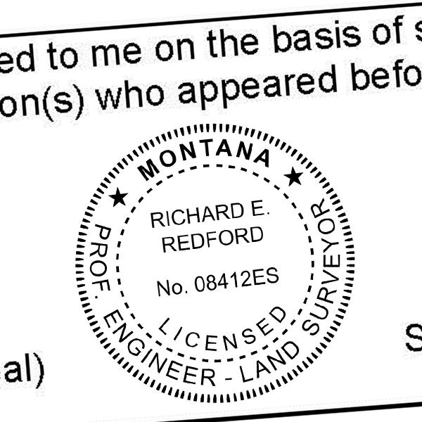State of Montana Engineer & Land Surveyor Seal Imprint