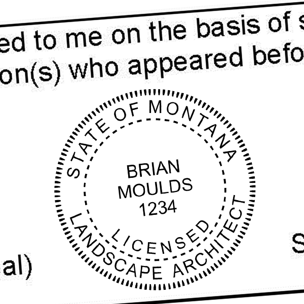 State of Montana Landscape Architect Milled Border Seal Imprint
