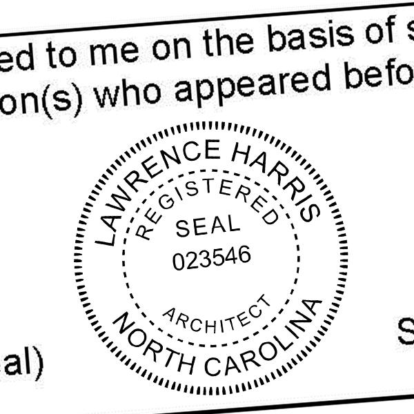 State of North Carolina Architect Seal Imprint