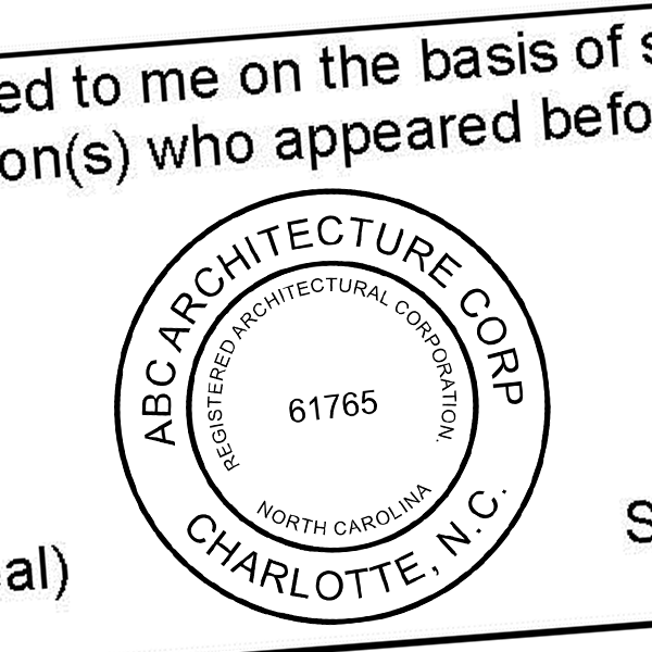 State of North Carolina Architectural Corporation Seal Imprint