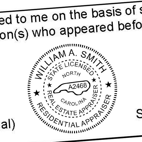 State of North Carolina Licensed Appraiser Seal Imprint