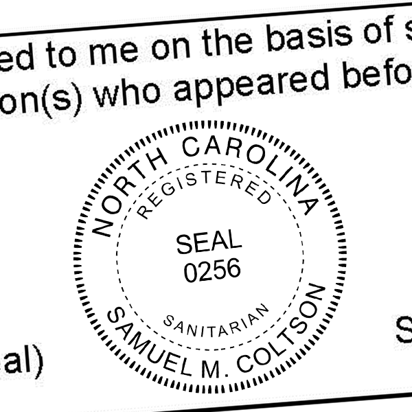 State of North Carolina Sanitarian Seal Imprint
