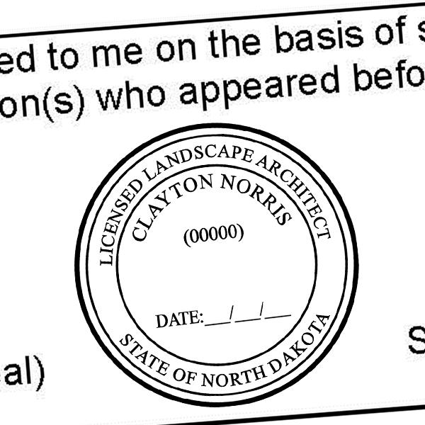 State of North Dakota Landscape Architect Seal Imprint