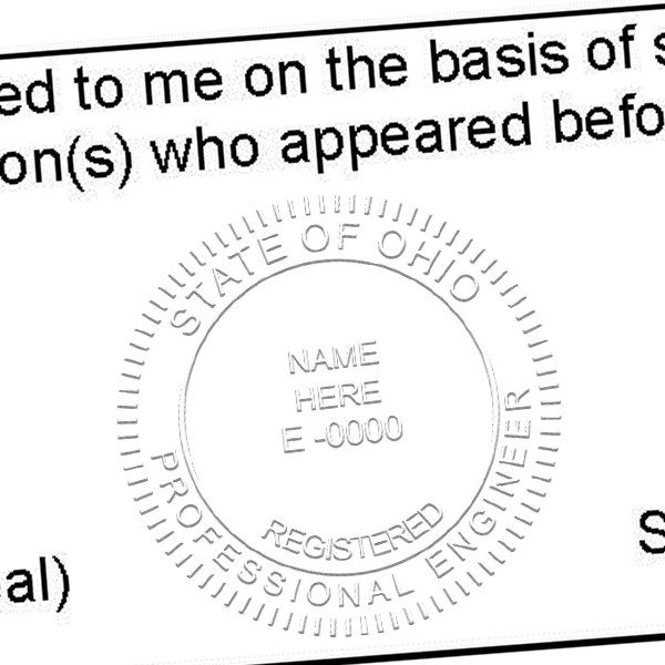 State of Ohio Engineer Embosser Seal Imprint