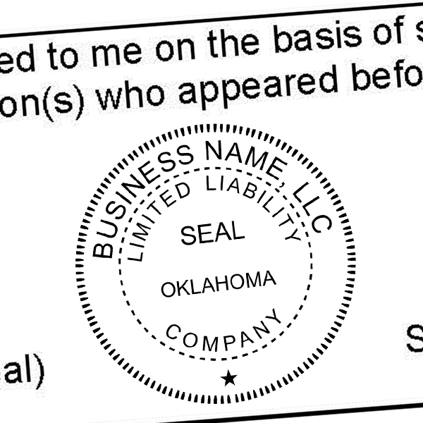 State of Oklahoma LLC Corporate Seal Seal Imprint