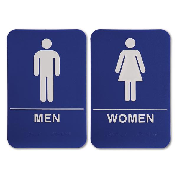 "ADA Braille Men's & Women's Restroom Sign Set 6"" x 9"" Blue"