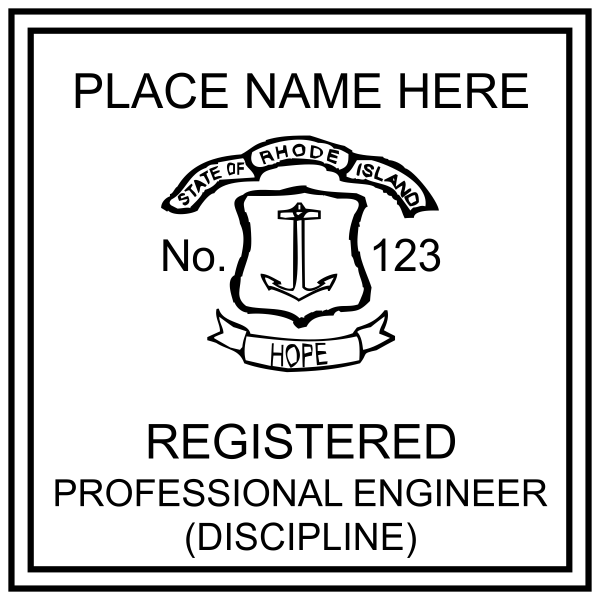 State of Rhode Island Professional Engineer Seal Stamp Seal Imprint