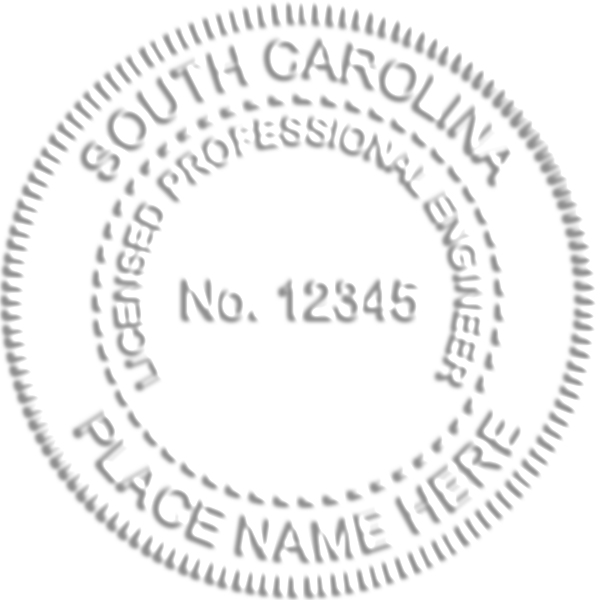 South Carolina Engineer Seal Embossed Impression