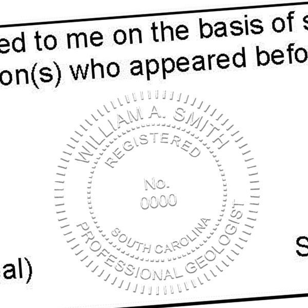 State of South Carolina Geologist Seal Imprint