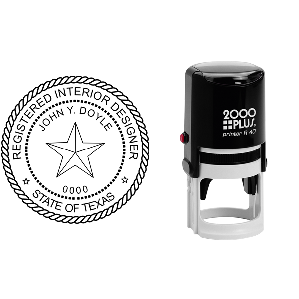 State of Texas Interior Designer Seal Body and Imprint