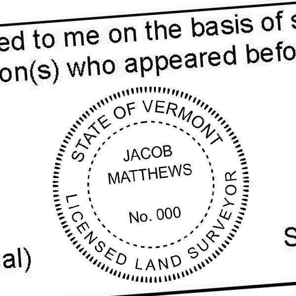 State of Vermont Land Surveyor Seal Imprint