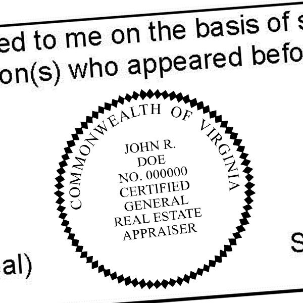State of Virginia Certified General Real Estate Appraiser Seal Imprint