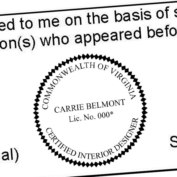 State of Virginia Interior Designer Seal Imprint