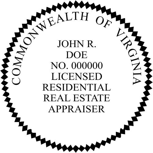 Virginia Licensed Residential Real Estate Appraiser Stamp Seal