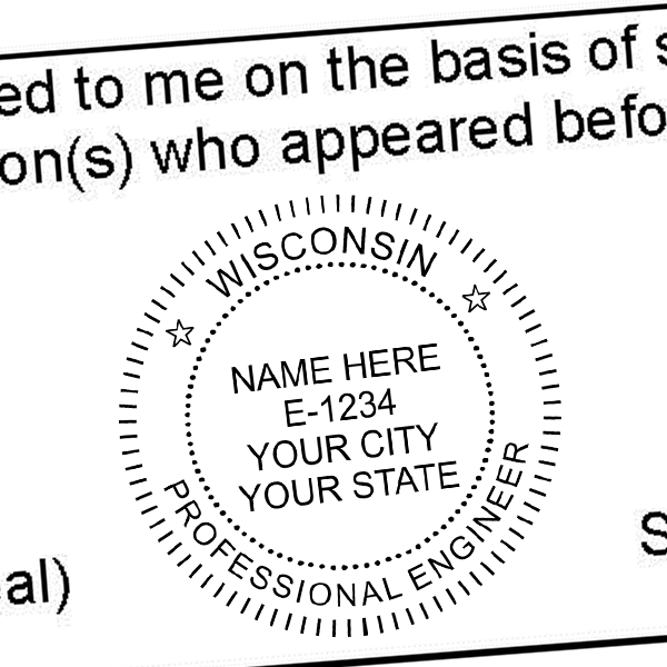 State of Wisconsin Engineer Seal Seal Imprint