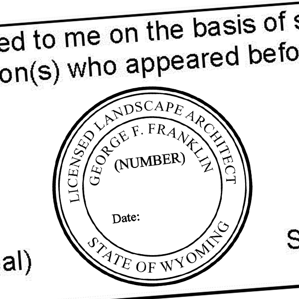 State of Wyoming Landscape Architect Seal Imprint