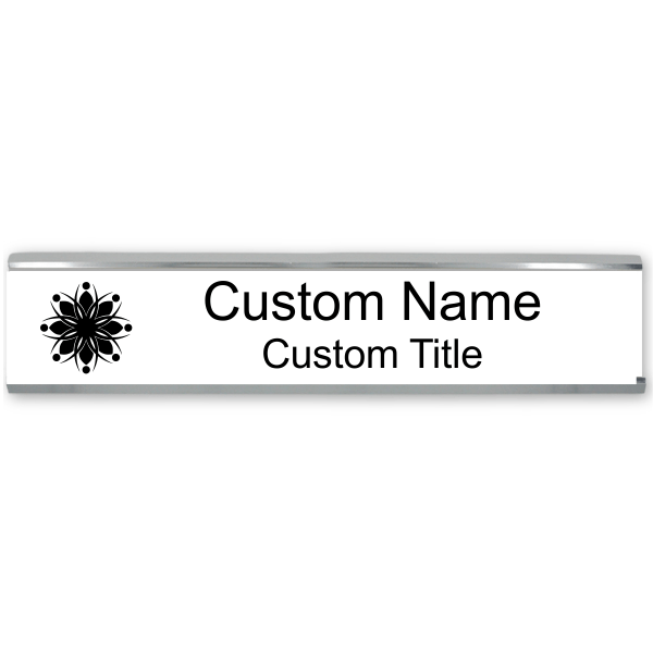 Engraved Cubicle Name Plate with Aluminum Holder - Large