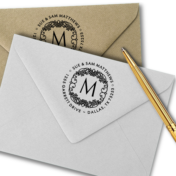 Matthews Flowers Monogram Address Stamp Imprint Examples on Envelopes