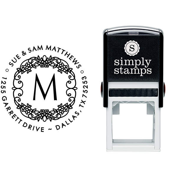 Matthews Flowers Monogram Address Stamp Body and Design