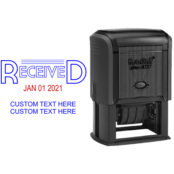 Received Outline Custom Text Dater Stamp Body and Design