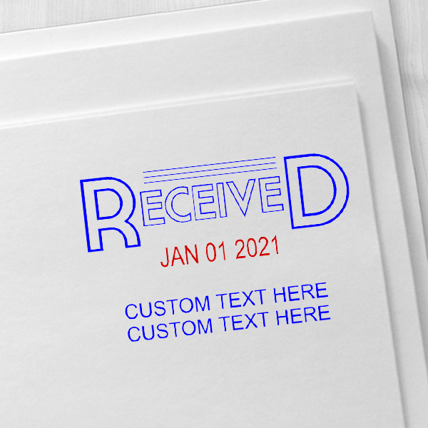 Received Outline Custom Text Dater Stamp Imprint Examples on Envelopes