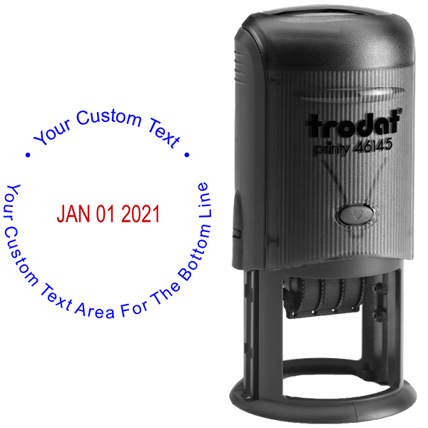 Custom Text Round Dater Stamp Body and Design