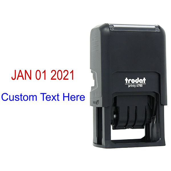Self-Inking Dater Stamp with Custom Text Body and Design