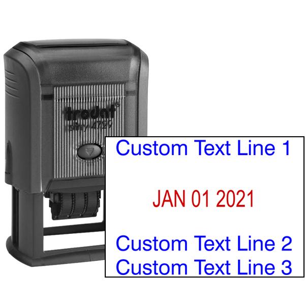 Self-Inking Custom Three Line Dater Stamp