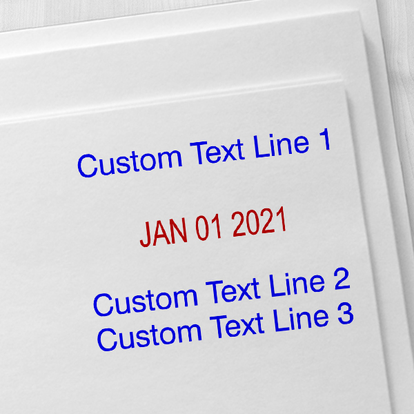 Self-Inking Custom Three Line Dater Stamp Imprint Examples on Envelopes