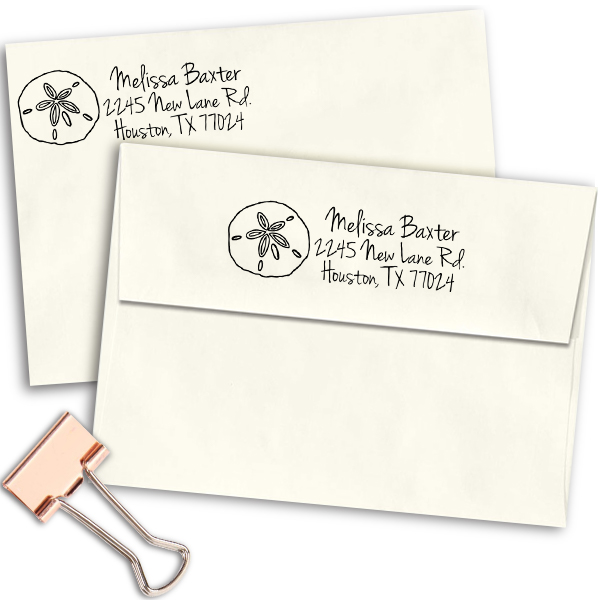 Baxter Shell Address Stamp Imprint Example