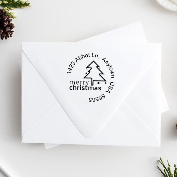 Merry Christmas Address Stamp Imprint Example