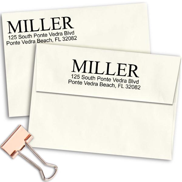 Bold Last Name Address Stamp Imprint Example