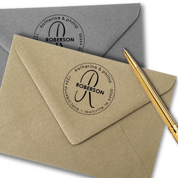 Roberson Monogram Round Address Stamp Imprint Example