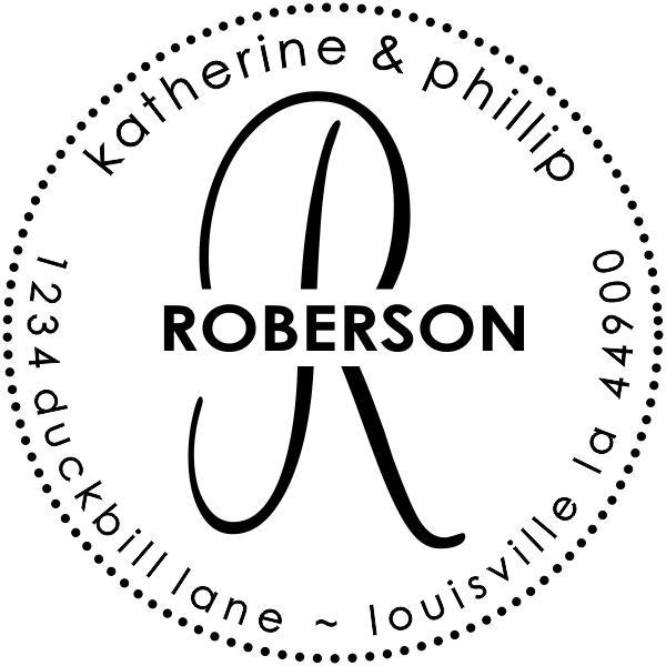 Roberson Monogram Round Address Stamp
