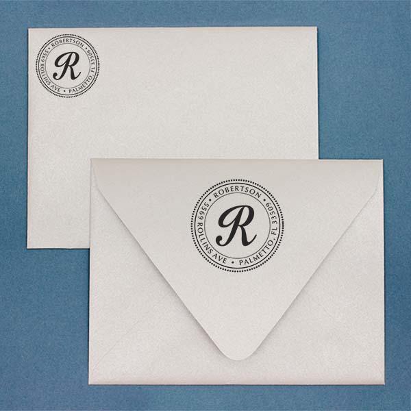 Palmetto Circle Address Stamp Imprint Example