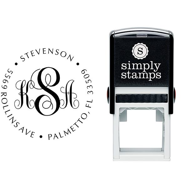 Fancy Monogram Address Stamp Body and Design - Self-Inking