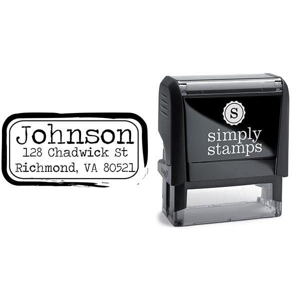 Eraser Rub Thick Ink Border Return Address Stamp Body and Design
