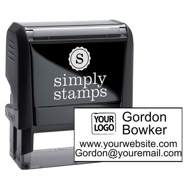 Self-Inking Logo Stamp with Contact Information