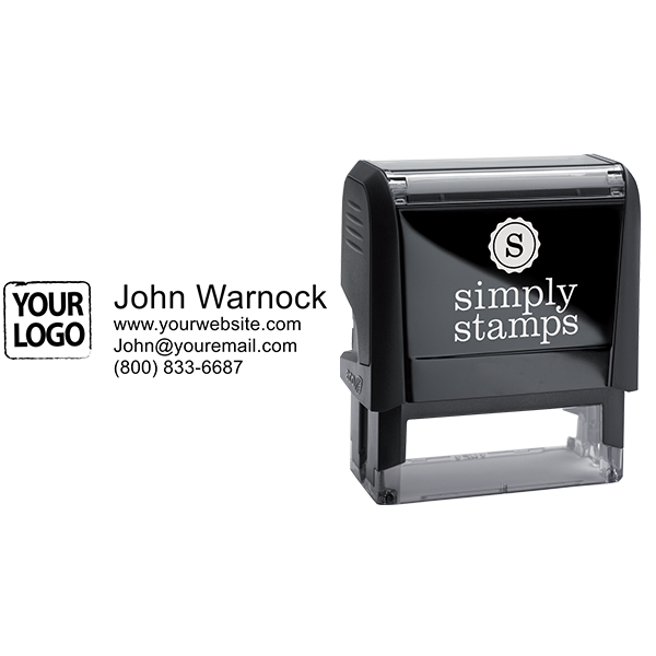 Self-Inking Logo Stamp with Custom Text - Stamp Body and Design