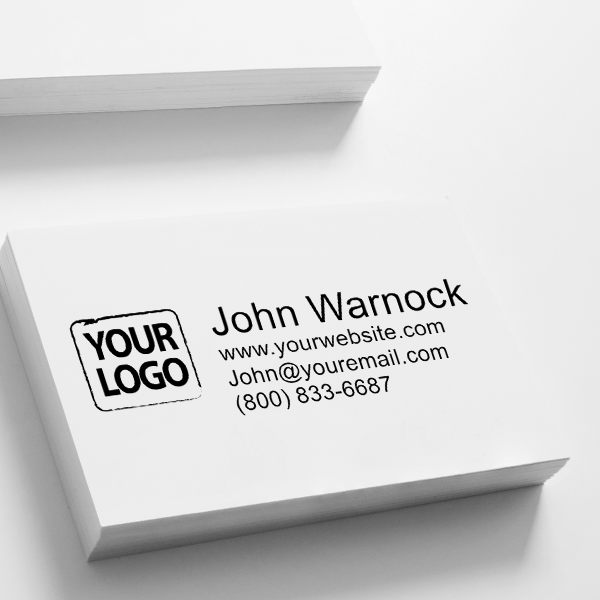 Self-Inking Logo Stamp with Custom Text Imprint on Paper