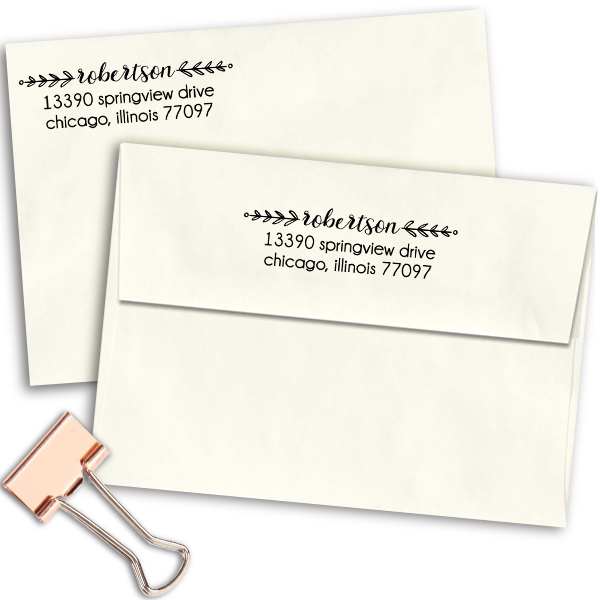 Laurel Robertson Rectangular Address Stamp Imprint Examples on Envelopes