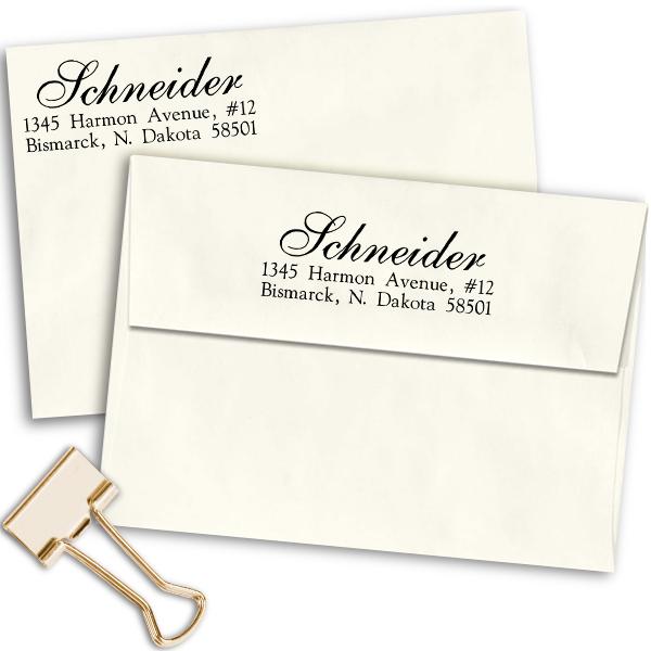 Schneider Script Address Stamp Imprint Examples on Envelopes