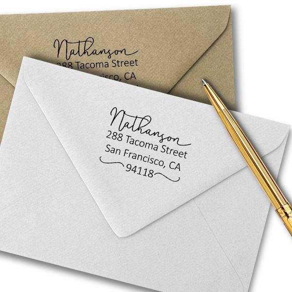 Nathanson Swash Address Stamp Imprint Examples on Envelopes