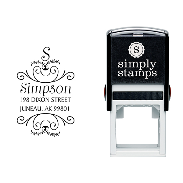 Simpson Ornamental Address Stamp Body and Design