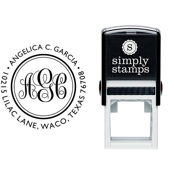 Angelica Monogram Address Stamp Body and Design