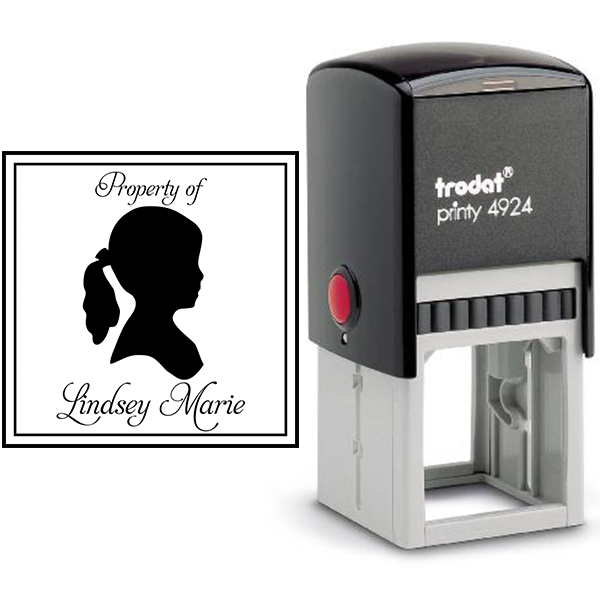 Girl Silhouette Customizable Rubber Stamp Body and Design
