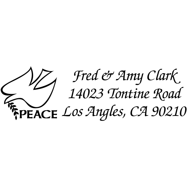 Peace Dove Olive Branch Rubber Address Stamp