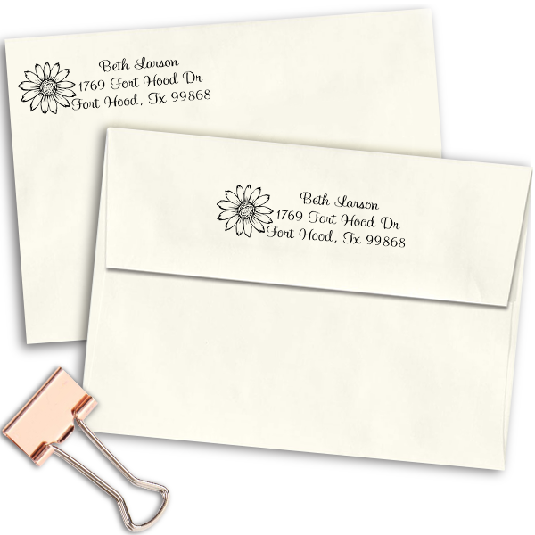 Flower Address Stamp Imprint Example